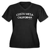 Costa Mesa Women's Plus Size V-Neck Dark T-Shirt