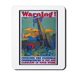Careless Work Warning Poster Art Mousepad