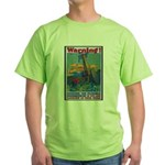 Careless Work Warning (Front) Green T-Shirt