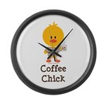 Coffee Chick Large Wall Clock