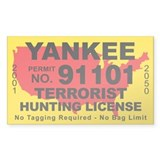 Yankee Terrorist Hunting License Decal