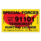 Special Forces Terrorist Hunting License Bumper Stickers