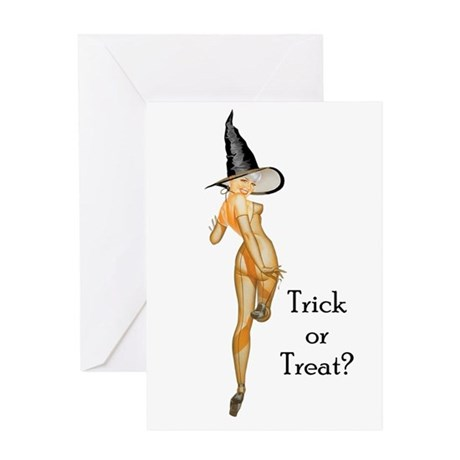 Trick or Treat Pin-up Girl Greeting Card