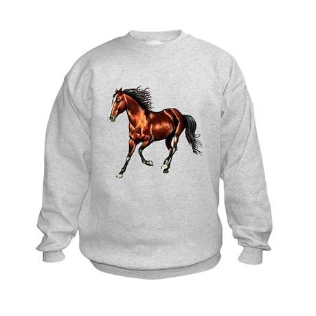 Cantering Bay Horse Kids Sweatshirt