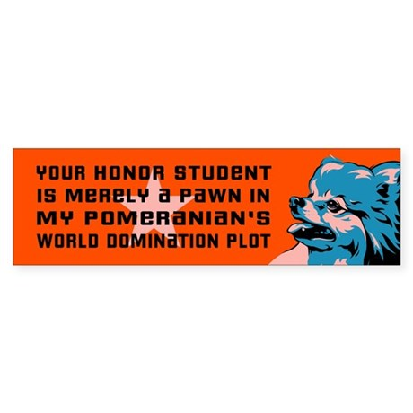 Pomeranian World Domination Bumper Sticker