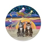 Xmas Star - Two Tabby Tiger cats Ornament (Round)