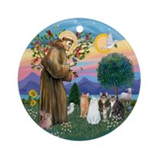 St Francis - Four Cats Ornament (Round)