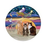 Xmas Star - Three Cats Ornament (Round)