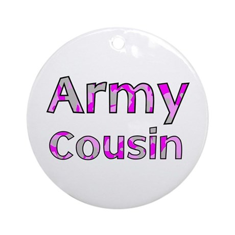 Army Cousin Pink Camo Ornament (Round)