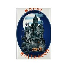 Haunted House_Happy Halloween Rectangle Magnet