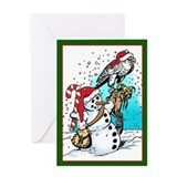 Falconry Santa Hat Greeting Card