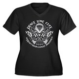 Brain Cancer Butterfly Tribal Women's Plus Size V-