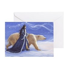SNOW PRINCESS AND POLAR BEAR Greeting Card