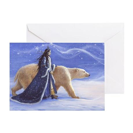 SNOW PRINCESS AND POLAR BEAR Greeting Card