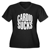 Cardio Sucks Women's Plus Size V-Neck Dark T-Shirt