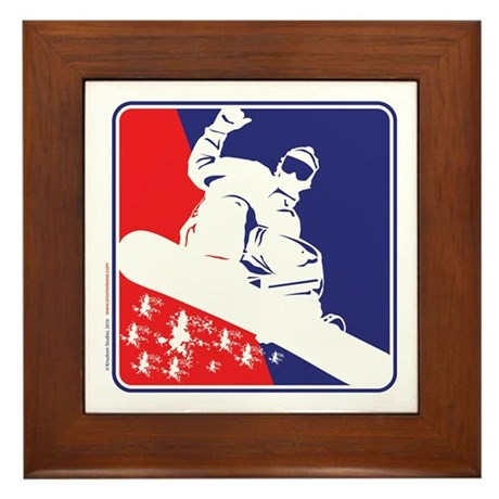 Red White and Blue Snow Boarder Framed Tile