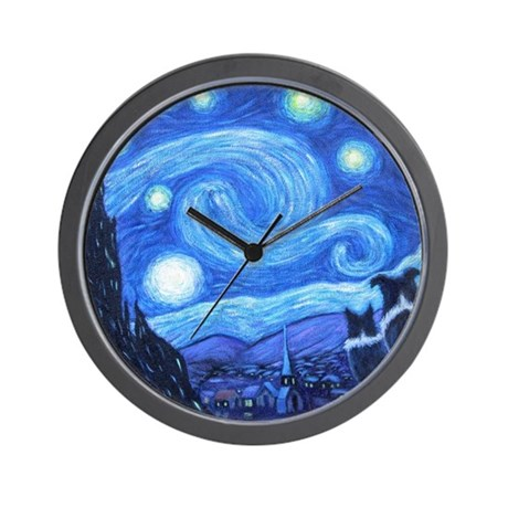 Starry Night Border Collie Wall Clock