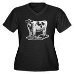 Spotted Cow Women's Plus Size V-Neck Dark T-Shirt