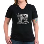 Spotted Cow Women's V-Neck Dark T-Shirt
