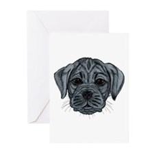 Black Puggle Greeting Cards (Pk of 10)