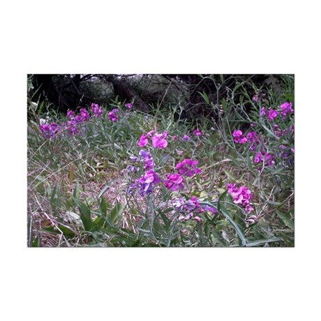 Purple Wildflowers Mini Poster Print