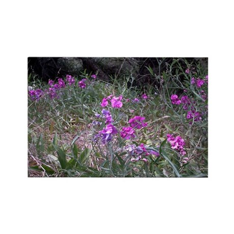 Purple Wildflowers Rectangle Magnet
