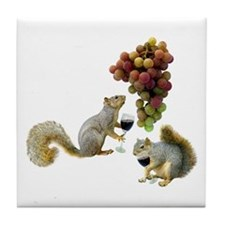 Squirrels Wine Tasting Tile Coaster