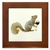 Squirrel with Wine Framed Tile