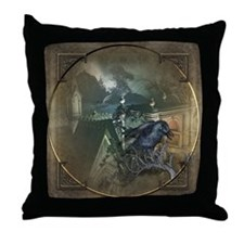 Gothic Black Crow Throw Pillow