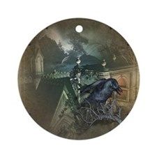 Gothic Black Crow Ornament (Round)