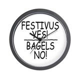 Festivus Yes! Bagels No! Wall Clock