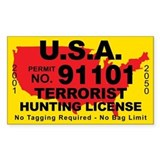U.S.A. Terrorist Hunting License Bumper Stickers