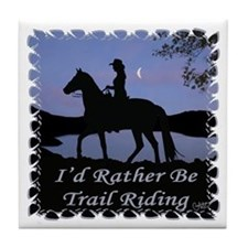 Moonlight Trail Riding Tile Coaster