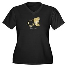 Lioness with Cubs Women's Plus Size V-Neck Dark T-