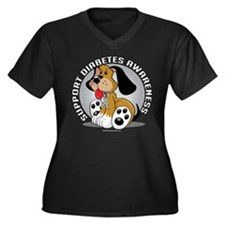 Diabetes Dog Women's Plus Size V-Neck Dark T-Shirt