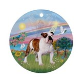 Angel Star - English Bulldog 5 Ornament (Round)