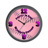 Pretty In Pink Softball Wall Clock