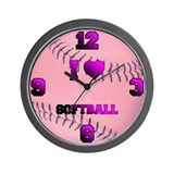 I Love Softball Pink Wall Clock