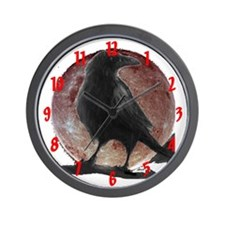 ravens stuff's raven moon Custom Wall Clock