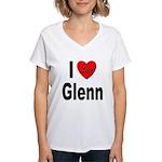 I Love Glenn (Front) Women's V-Neck T-Shirt