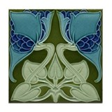 Arts & Crafts Blue Flower Tile Coaster
