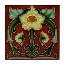 Art Nouveau Light Yellow Flower Tile Coaster