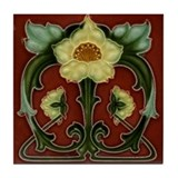 Arts & Crafts Light Yellow Flower Tile Coaster
