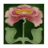 Art Nouveau Pink Peony Tile Coaster