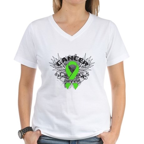 Lymphoma Cancer Survivor Women's V-Neck T-Shirt