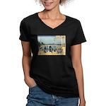 Hokusai Sazai Hall Women's V-Neck Dark T-Shirt