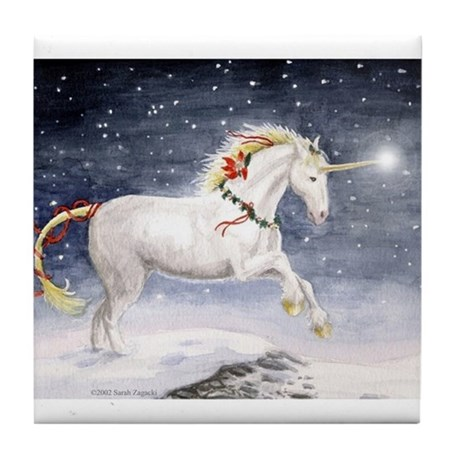 Christmas unicorn. Tile Coaster