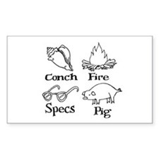 Conch, specs, fire, pig Rectangle Decal