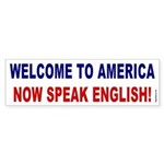 Speak English Bumper Sticker (blue/red)