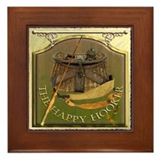 The Happy Hooker Pub Sign Framed Tile